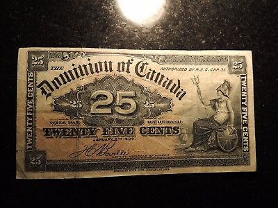 1900 DOMINION OF CANADA SHINPLASTER 0.25 CENTS PAPER BOVILLE DC-15b