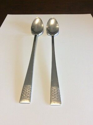 National Silverplate Calvalcade/Cavalcade Basket Weave Ice Tea Spoon Lot Of 2