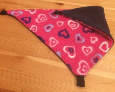 New Fully Quilted Corner Hammock For Rats+small Animals. HEARTS + NAVY FLEECE