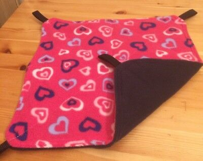 New Flat Fully Quilted Hammock For Rats+small Animals. HEARTS + NAVY FLEECE