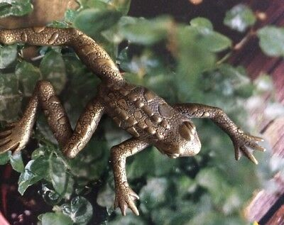 """Vintage Brass Leaping Bull Frog Pin 4"""""""