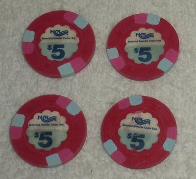 Lot of 4 NCL NORWEGIAN CRUISE LINE $5 RED CHIPS w/ Light Blue, Poker Chip