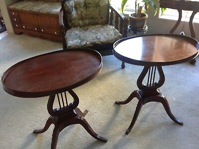 Pair of 2 Mersman Antique Mahogany Harp Lyre Side End Tables Victorian Decor