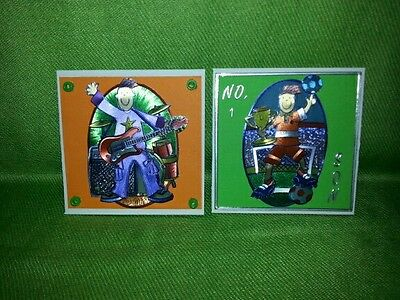 2 x Handmade Cards ~ Footballer and Guitarist