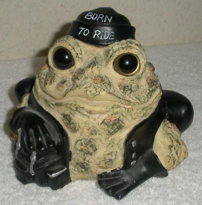 """BORN TO RIDE Toad Hollow Cycle Works, Motorcycle Biker, 5"""" Resin Frog Figure"""