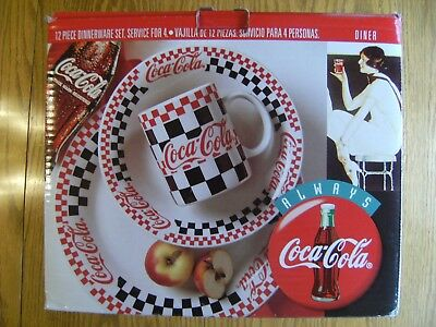 NEW, 4 LOTS Coke Coca-Cola 1996 by Gibson Checkered Dinnerware Set 3 PC Setting