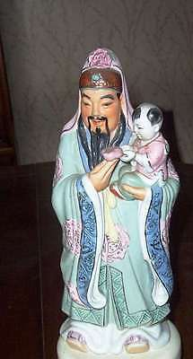 """Antique Chinese Statue of LUK and small boy 12"""" Mint GOOD LUCK CHINESE GOD"""