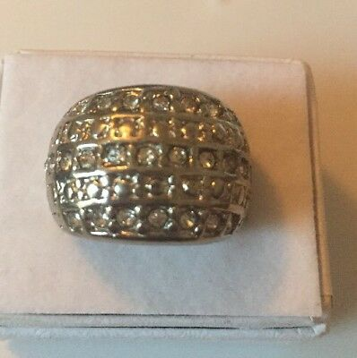 Stunning Vintage Estate Jewelry Ring Size 5 Wide Band Silver Tone Shiny Stones