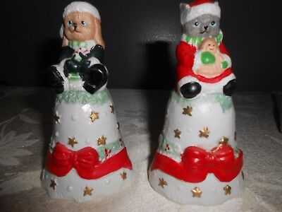 Christmas Bells Pet Holiday Ceramic Cat Dog 2 Pcs
