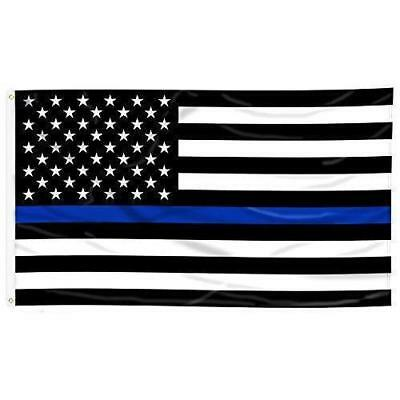 Thin Blue Line American Flag - 3 by 5 Foot Flag with Grommets New
