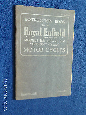 Royal Enfield Ensign And Re Models Instruction Book 1955