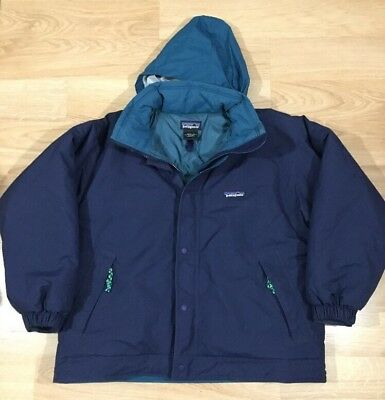 Patagonia Coat Jacket Boys Size 10 Blue And Green Warm