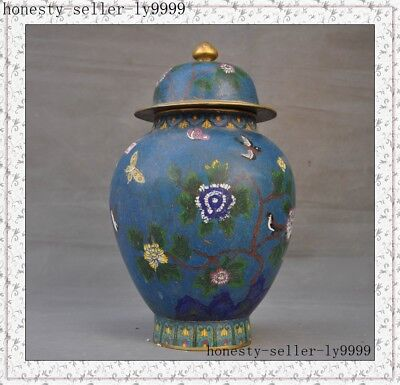 '乾隆'Marked old Chinese bronze Cloisonne Swallows Flowers Tanks Crock pot jar
