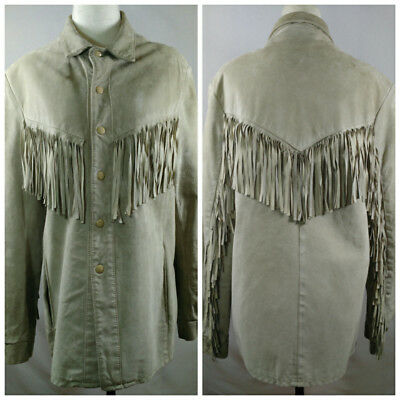 VTG 60s Fringed Suede Jacket Womens 40 Size M Beige Boho Western Made In Canada