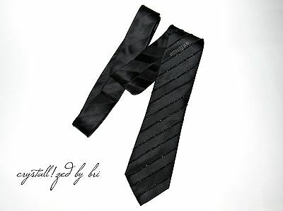 MADE TO ORDER Sean John Black Stripe Men's Tie NEW Bling with Swarovski Crystals
