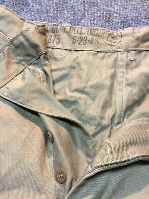 VINTAGE 40's BLUE BELL INC. BUTTON FLY KHAKI PANTS STAMPED 6-23-45
