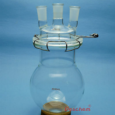 2000ml,24/40,Glass Reaction Vessel,2L,Three Necks Lab Reactor,With Lid & Clamp
