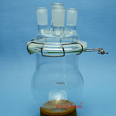 1000ml,24/40,Glass Reaction Reactor,4-Necks,1L,Reaction Vessel W/Lid and Clamp