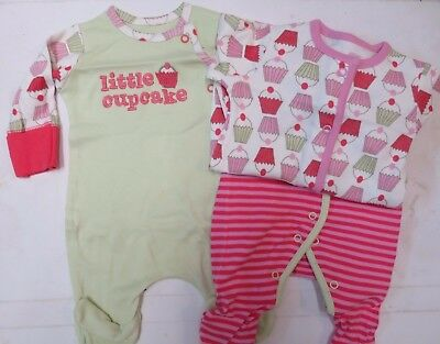 Baby girl Mothercare babygrow sleepsuit tiny baby 3 pack fairy cakes RP £15 NEW