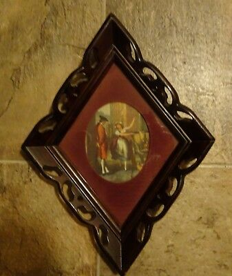 ANTIQUE WALNUT WOOD HAND CARVED FRAME FOR MIRROR PICTURE 14 x 10.5