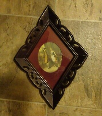 "ANTIQUE WALNUT WOOD HAND CARVED FRAME FOR MIRROR PICTURE 15"" x 10.5 """