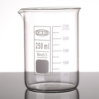 250ml Lab Glass Beaker,Low Form GG17 beakers with Spout mouth,Made From Glass3.3