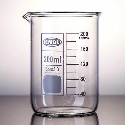 200mL Glass Beaker,Low Form GG17 Beakers With Spout Mouth,Chemistry Labware