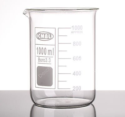 1000mL Glass Beaker,1L Low Form Beakers,Good Quality,Borosilicate 3.3 Glassware