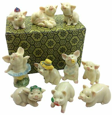 Pig Figurine Decor Collection – Set of 10 Miniature Statue Piglets, for Fairy of