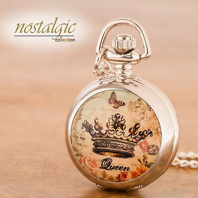 Vintage Antique Style Silver Lovely Pocket Watch Necklace 101