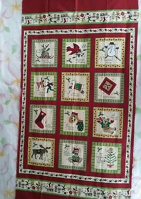 Quilting fabric panel 12 Days of a Woodland Christmas 100%cotton 66cmx112cm NWOT