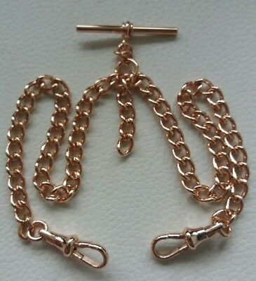 Rolled Rose Gold Double Albert Pocket Watch Chain