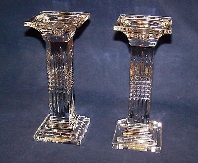"A Pair (2) of Beautiful Heavy Lead Crystal Candle Holders  9"" Tall"