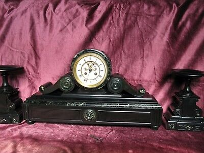 French Drum Head Clock Set-Samuel Marti Open Jeweled Escapement-Rack Strike