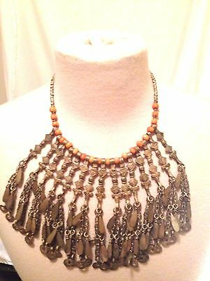 Antique Vintage Egyptian Revival Bib Collar Coral Necklace Statement CROSSES +++