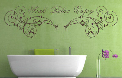 Soak Relax Enjoy Quote, Wall Art Stickers Decal Murals. Home, Bathroom Decor