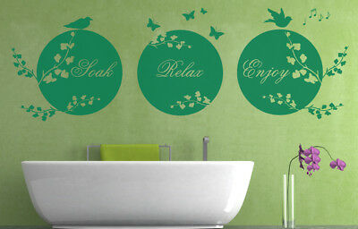 Soak Relax Enjoy Quote, Wall Art Stickers Decal Murals. Home Wall Bathroom Decor