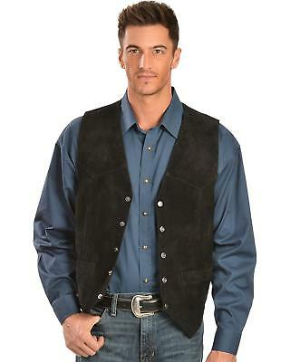 Scully Calfskin Suede Snap Front Vest - 507-214