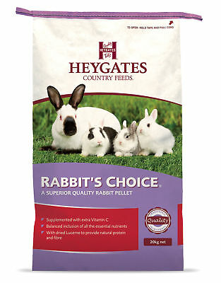 Heygates Rabbit's Choice Pellets Rabbit  Complete Food 20kg & 1 scented shavings