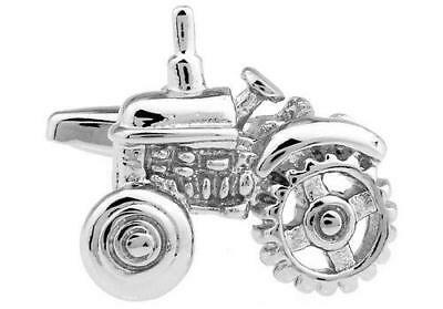 Havey Makin Rhodium Plated Old Fashioned Tractor Cufflinks Gift Boxed