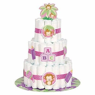 25pc Monkey Diaper Cake Girl Kit Baby Shower Gift Baby Shower Diaper Cake Decor