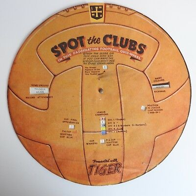 Tiger comic Spot the Clubs quiz wheel from 1959/60 - RARE
