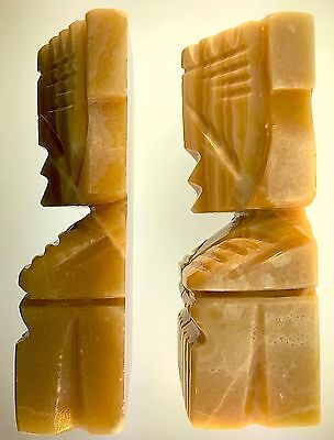 Hand Carved Hawaiian TIKI Figures Vintage Hand Carved Bookends Solid Marble Pair