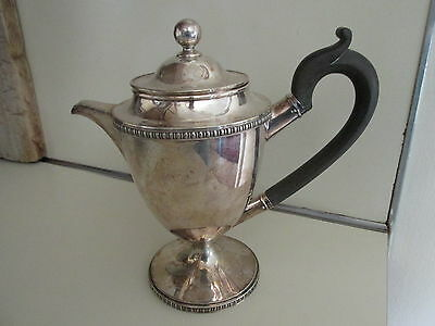 ANTIQUE Bailey Banks And Biddle TEAPOT EBONY HANDLE SILVERPLATE NICKLE SILVER