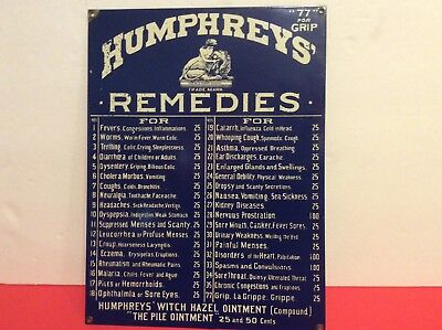 """Collectable Vintage Metal Sign Humphrey's Remedies From Old Drug Store 16"""" x 12"""""""