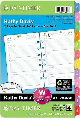 Day-Timer Two Page Per Week Planner Refill, January 2018 - December 2018, 5-1/2""