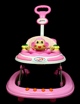 pink Baby Walker Activity First Steps Music Melody with parent handle