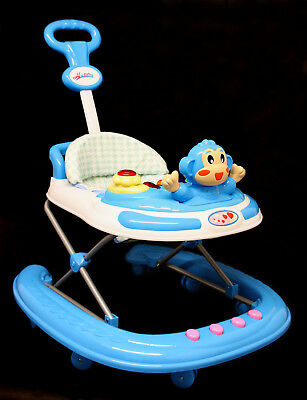 Baby Walker blue  Activity First Steps Music Melody blue with parent push handle