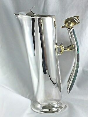 "Los Castillos Silver Plate Bar Pitcher W/Inlaid Malachite Bird Handle - 10"" tall"