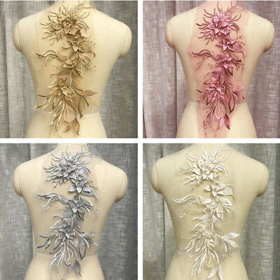 1pc Lace Applique Pearl Motif Flower Trims Wedding Bridal Sew Craft Embroidery